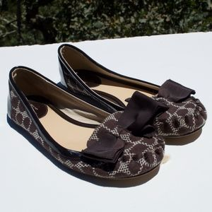 Kate Spade Brown Fabric Bow Flats 6